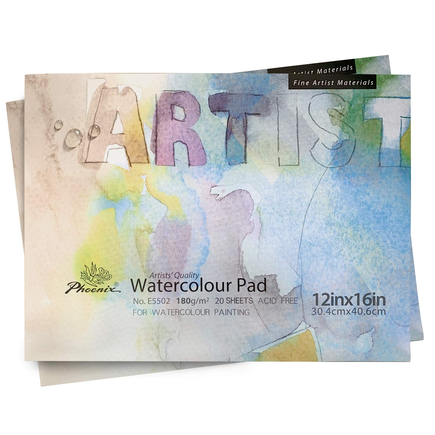 1//3 Inch Thick Art Pad PHOENIX Watercolor Paper Pad Cold Pressed Painting Paper for Water Soluble Paints 8x10 Inch//2 Pack