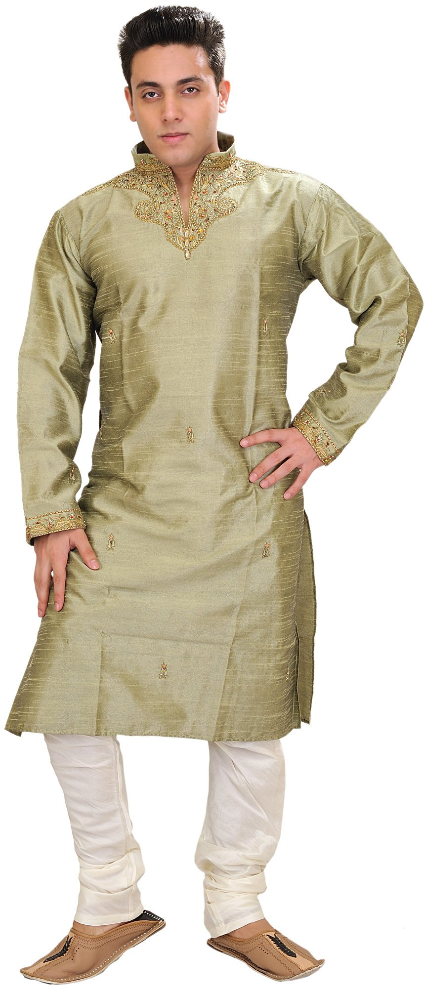 Exotic India Basil-Green Wedding Kurta Pajama with Embr Size 40