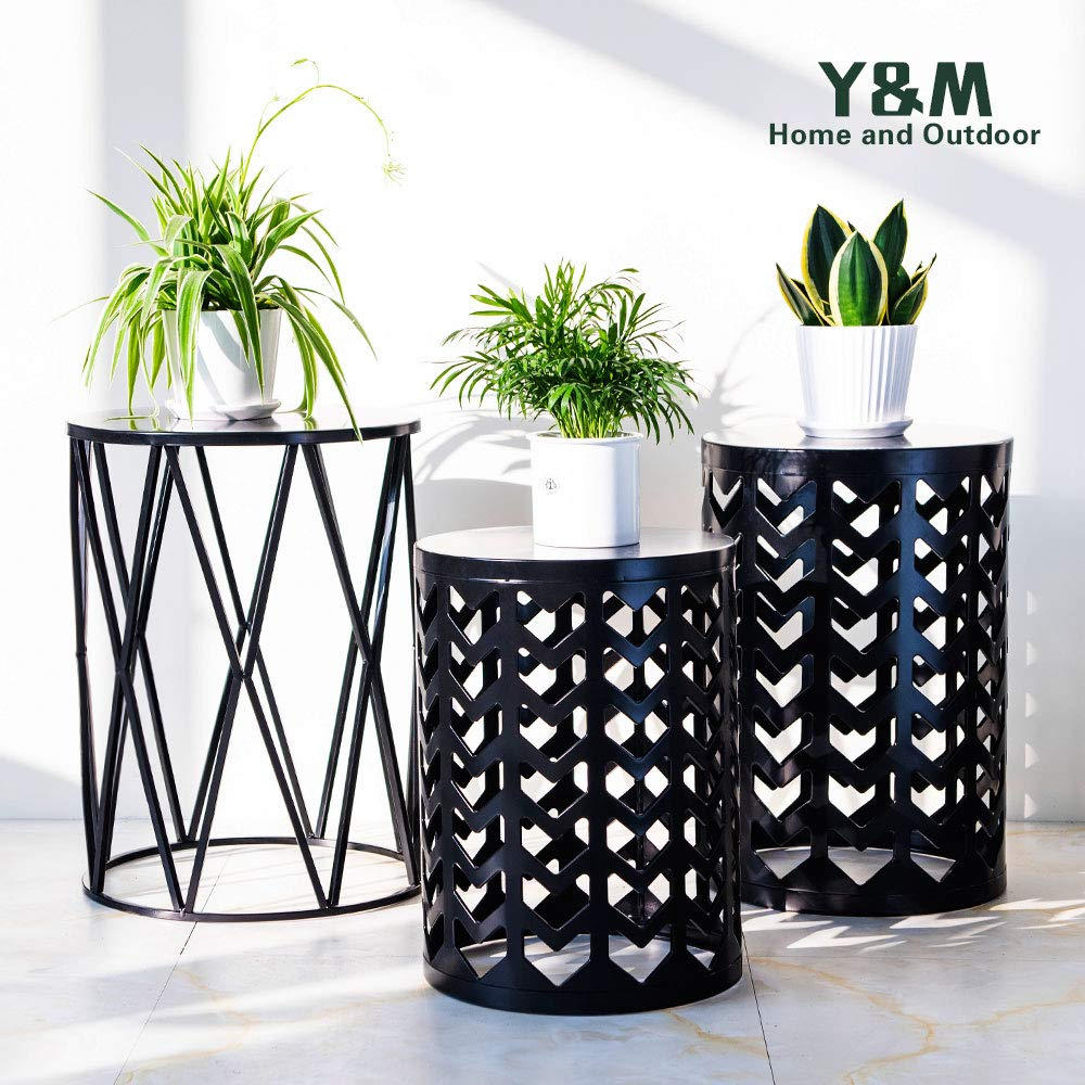 Y&M Round Metal End Table,Side Table for Indoor Outdoor Use,Plant Stand,Garden Stool Set of 3 Black