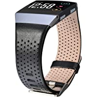CAGOS Compatible Fitbit Ionic Band Breathable Genuine Leather Band Strap Replacement Accessories Wristband for Fitbit Ionic Women Men (Small, Black)