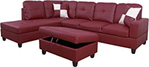 3-Piece Contemporary L-Shape Sectional Sofa with Chaise and Storage Ottoman | Living Room Furniture | Faux Leather Upholstery | High-Density Memory Foam Cushions | Pillows Included (Red Left-Facing)