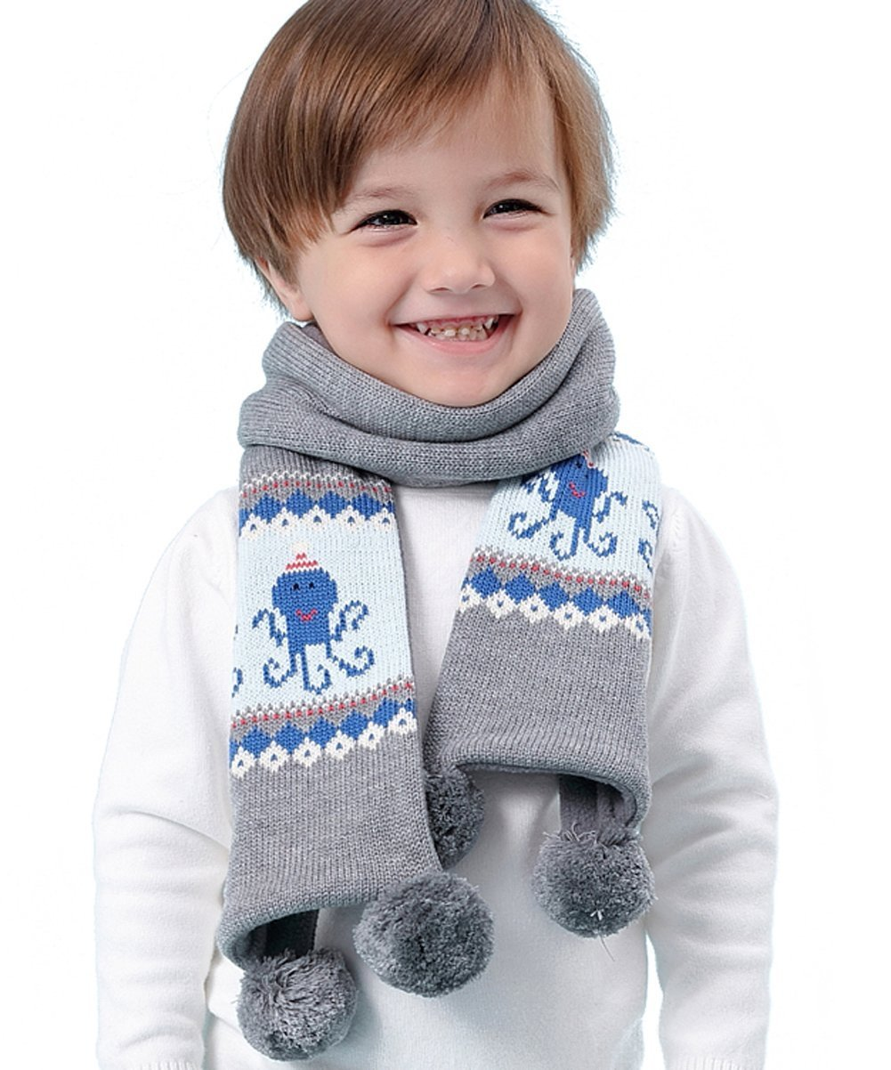 Kids Winter Fashion Warm Long Knit Scarf Fleece Chunky Christmas Scarf With Pom Pom