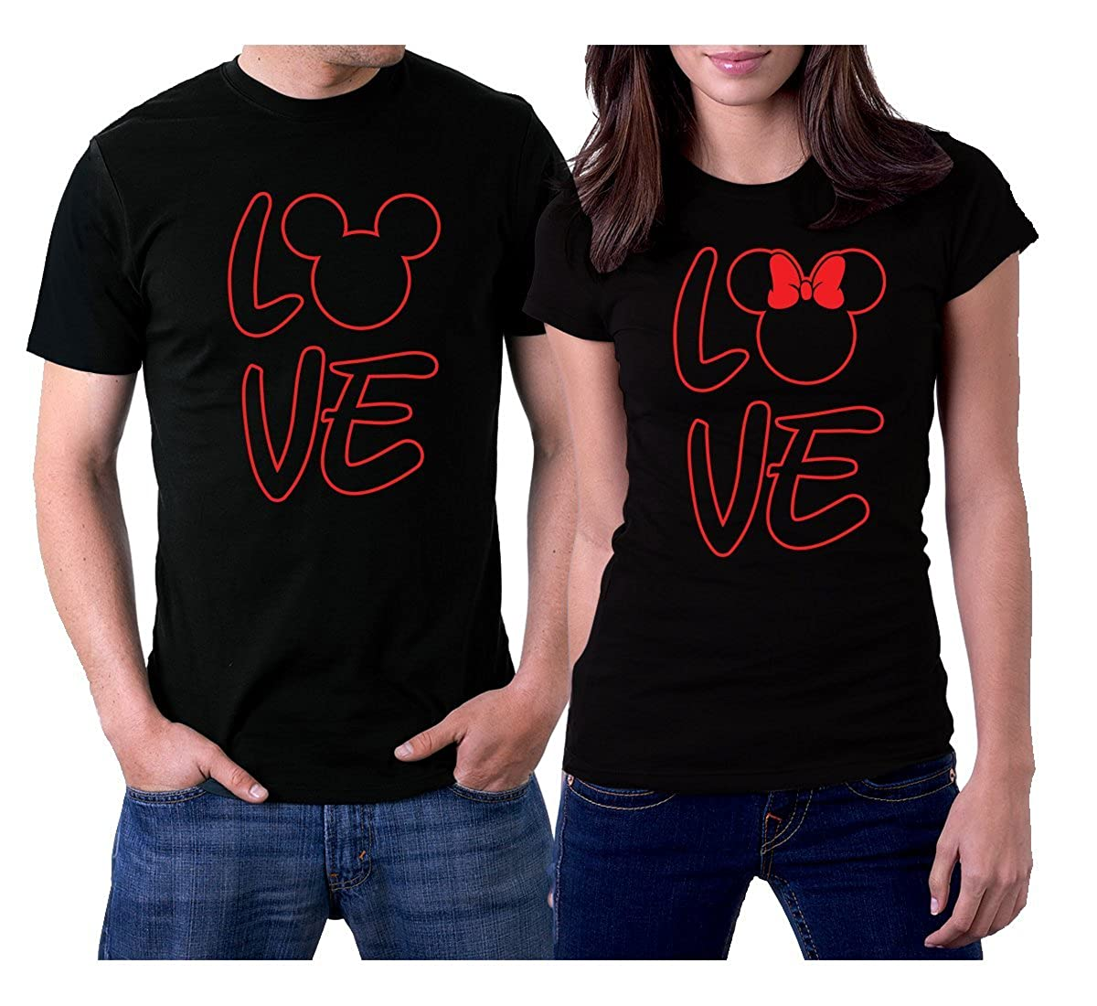 2127d0b234 Amazon.com: picontshirt Love MM Black Couple T-Shirts: Clothing
