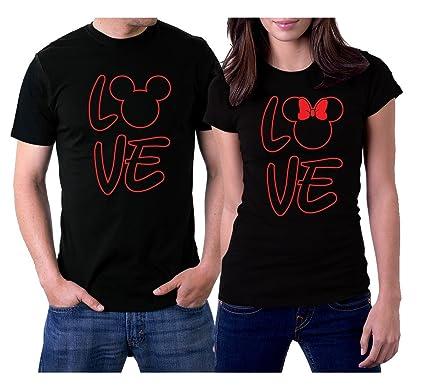 c3c865dce9 PicOnTshirt Love MM Couple T-Shirts Men L/Women S Black: Amazon.co.uk:  Clothing