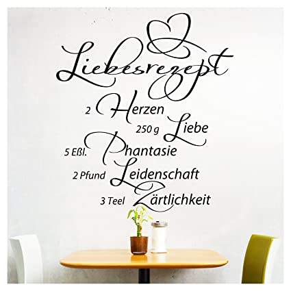 Grandora Wandtattoo Spruch Liebesrezept I schwarz (BxH) 58 x 64 cm I Küche  Esszimmer selbstklebend Aufkleber Wandaufkleber Wandsticker Sticker Tattoo  ...