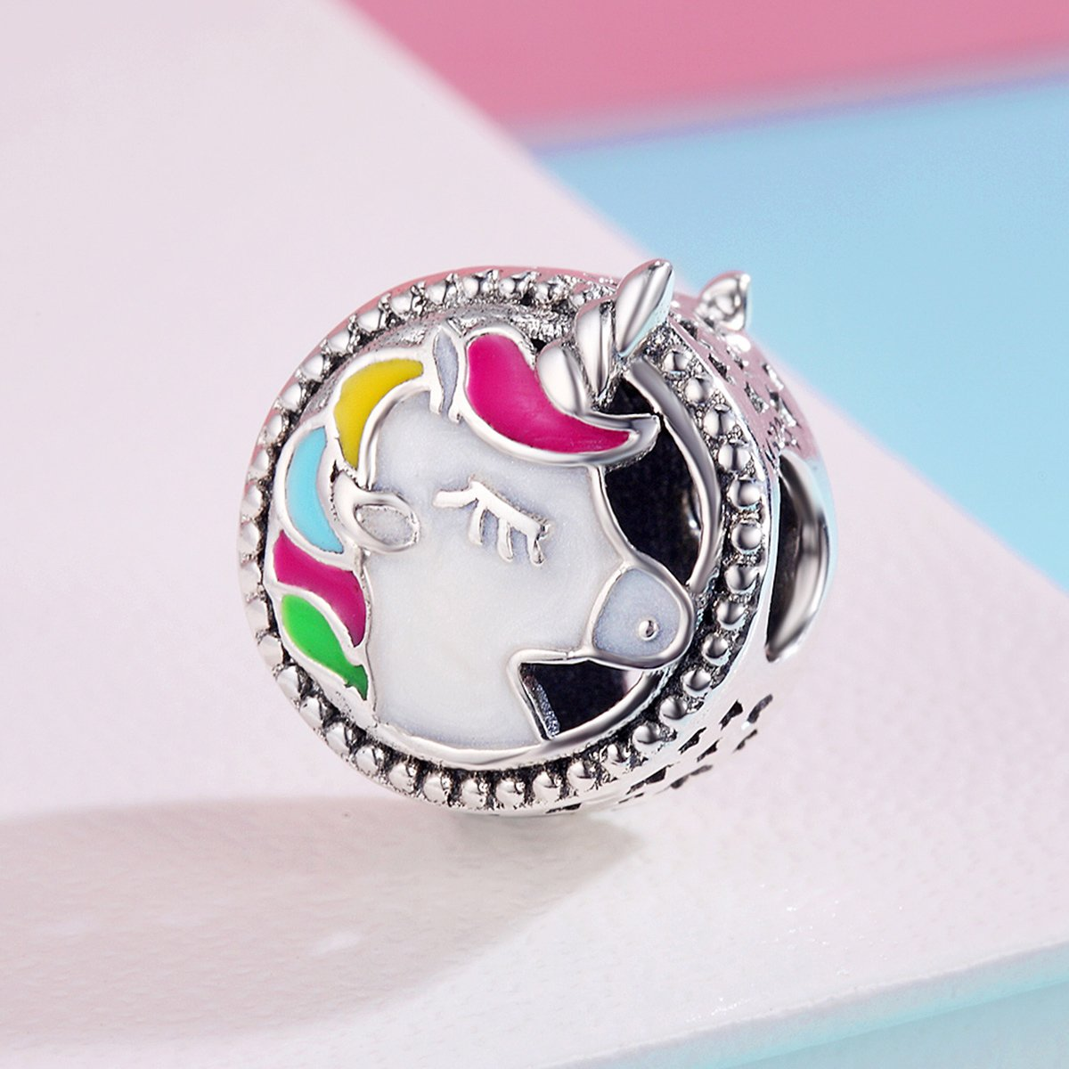 BAMOER 925 Sterling Silver Unicorn Charm Bead Enamel Charm Fit Bracelet Necklace Perfect Jewelry For Women Girls by BAMOER (Image #4)