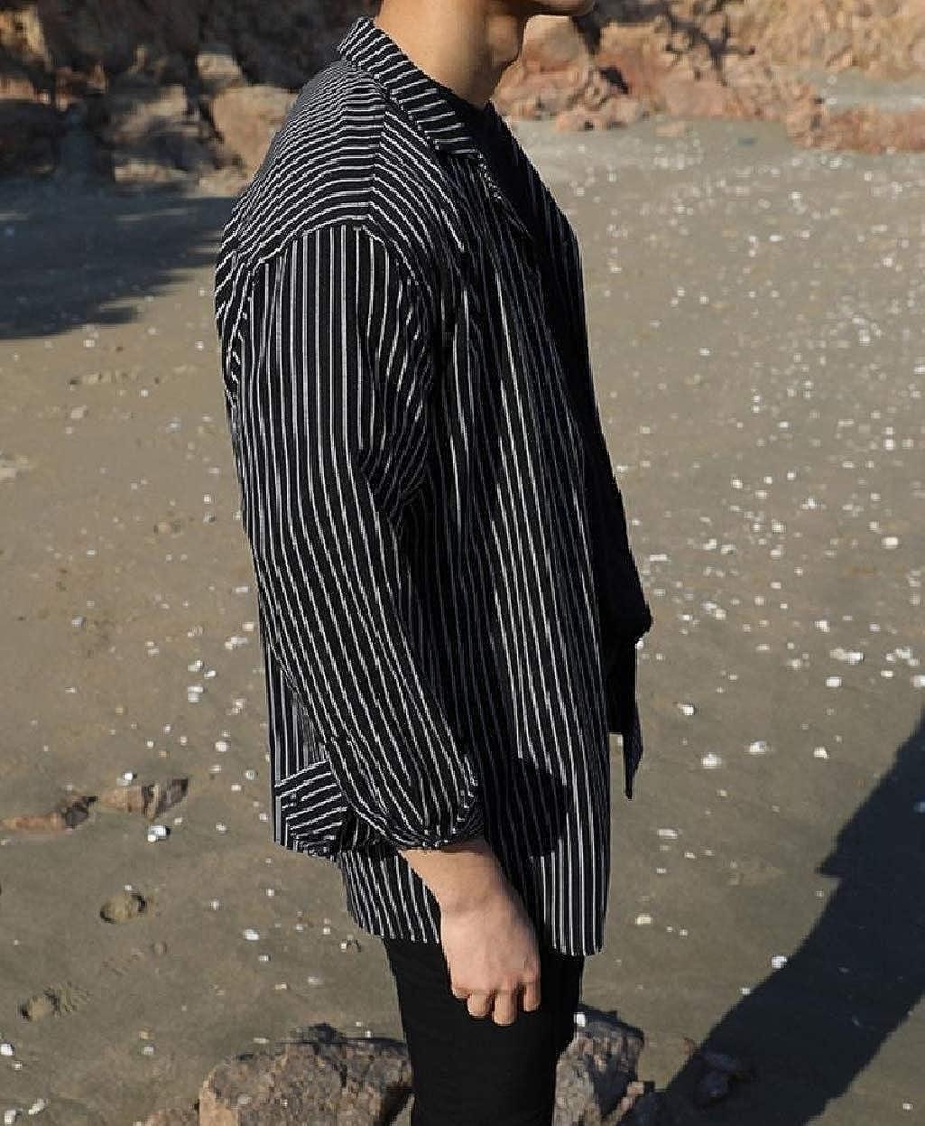 Abetteric Mens Button-Up Baggy Long Sleeve Cardigan Fashion Western Shirt