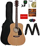 Fender FA-115 Dreadnought Acoustic Guitar - Natural Bundle with Gig Bag, Tuner, Strings, Strap, Picks, and Austin Bazaar…