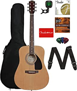 Fender 0950816021-COMBO-DLX Acoustic Guitar Bundle with Gig Bag, Tuner, Strings, Strap, Picks, Austin Bazaar Instructional DVD, and Polishing Cloth