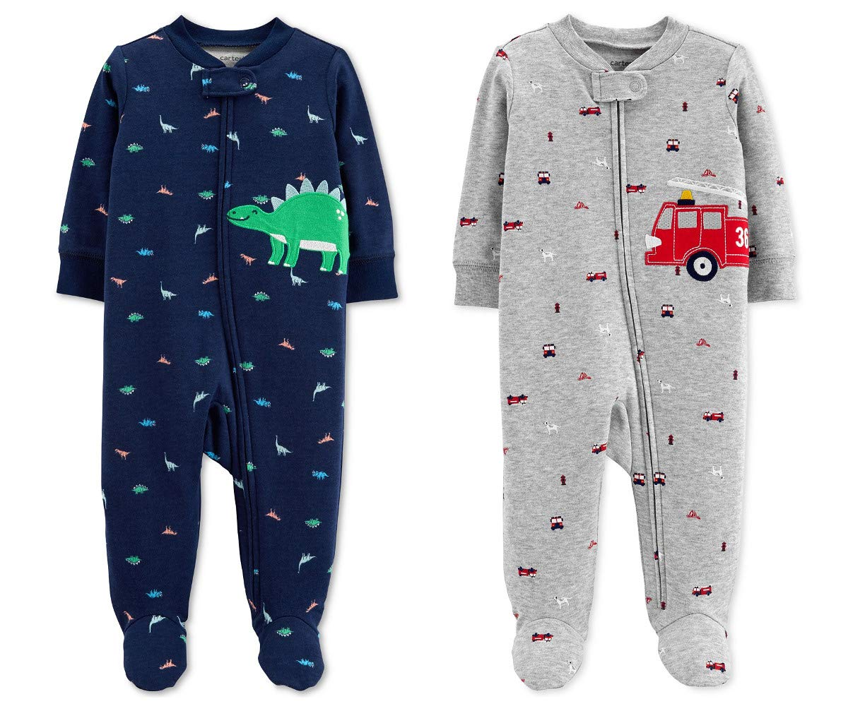 Carter's Baby Boys Footed Sleeper Cotton Sleep and Play Pajama with Zipper, Set of 2 (6 Months, Blue Dinosaur Grey Firetruck) by Carter's