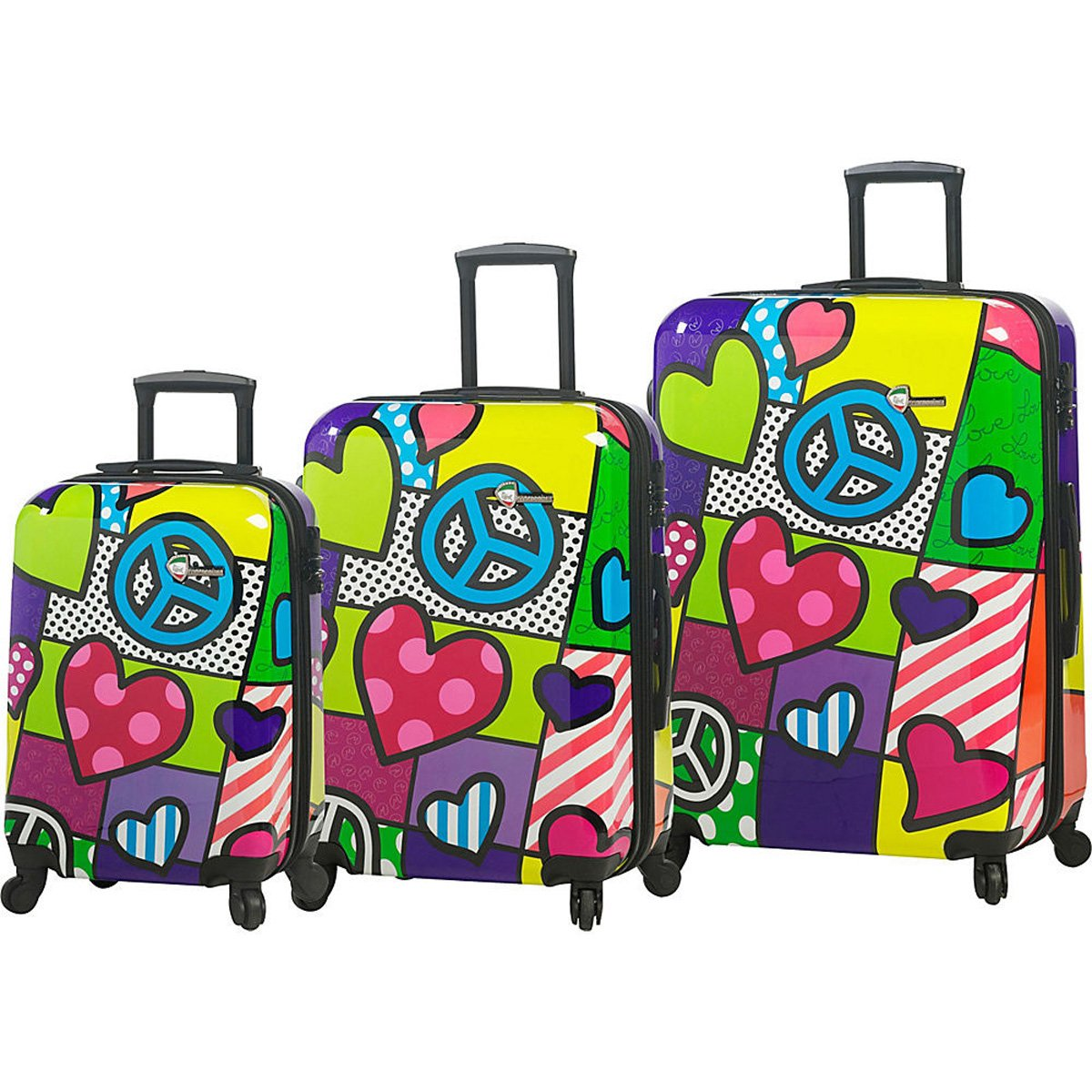The Set of Classic Peace and Love 3 Piece Luggage Set