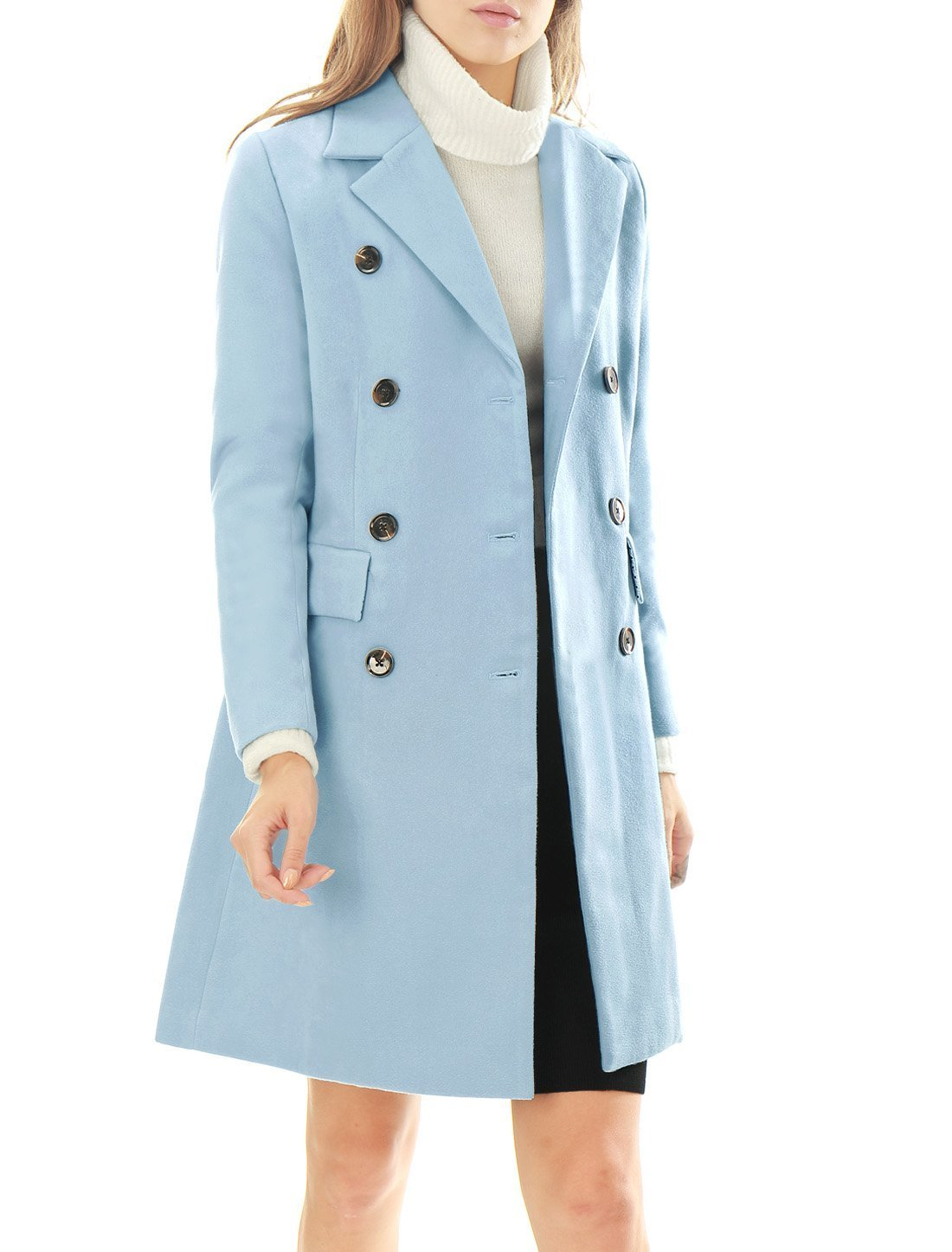 Allegra K Women's Notched Lapel Double Breasted Trench Coat XS Blue