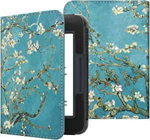Fintie Case for Nook GlowLight 3, Slim Fit Premium Vegan Leather Folio Cover for Barnes and Noble Nook GlowLight 3 eReader 2017 Release Model# BNRV520, Blossom