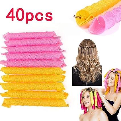 Rizadores de pelo en espiral, kit de peinado, 40 esponjas suaves, sin calor