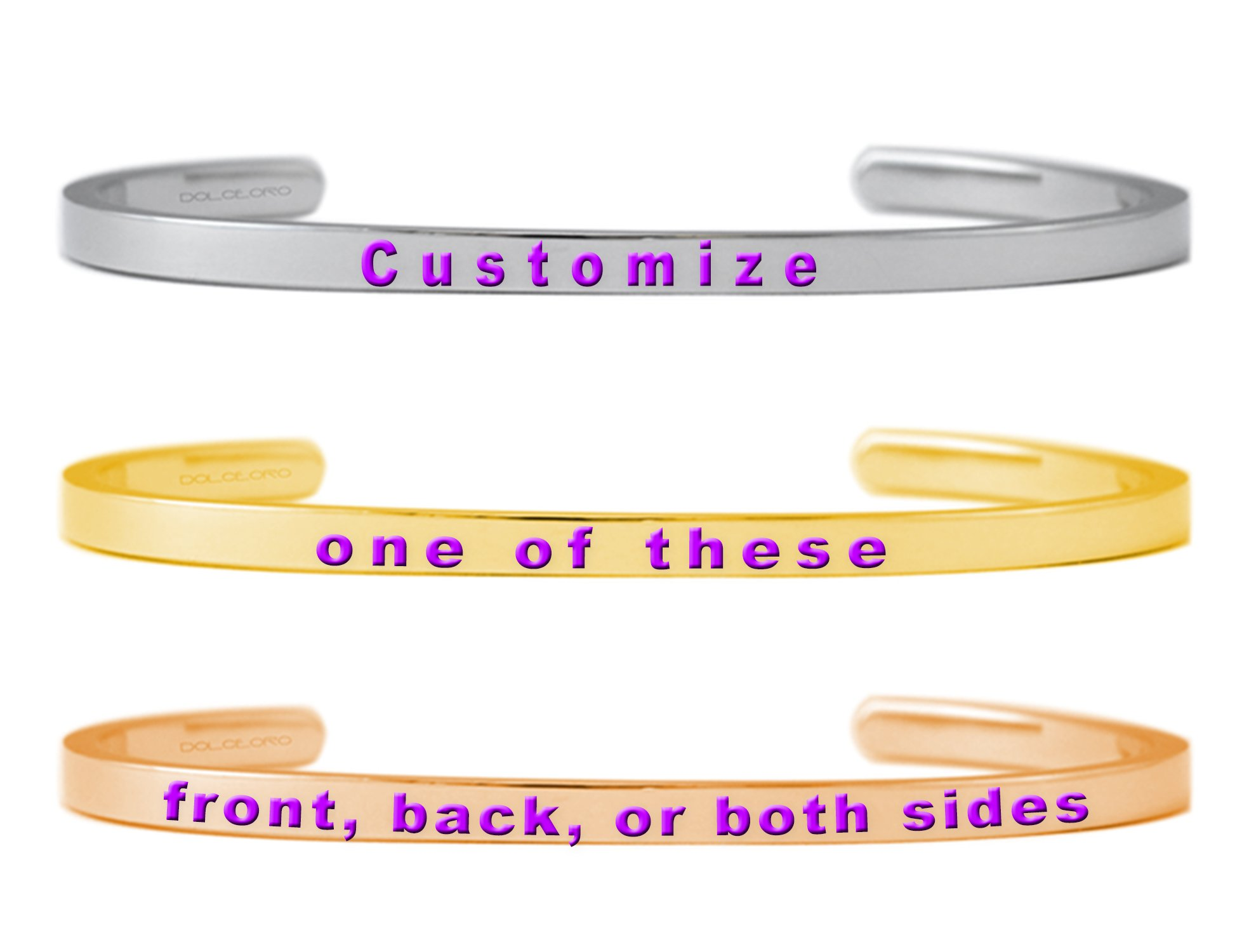 Dolceoro Personalized Mantra Bracelet Jewelry - Customize Outside 3mm Wide, Shiny Finish 316L Surgical Steel