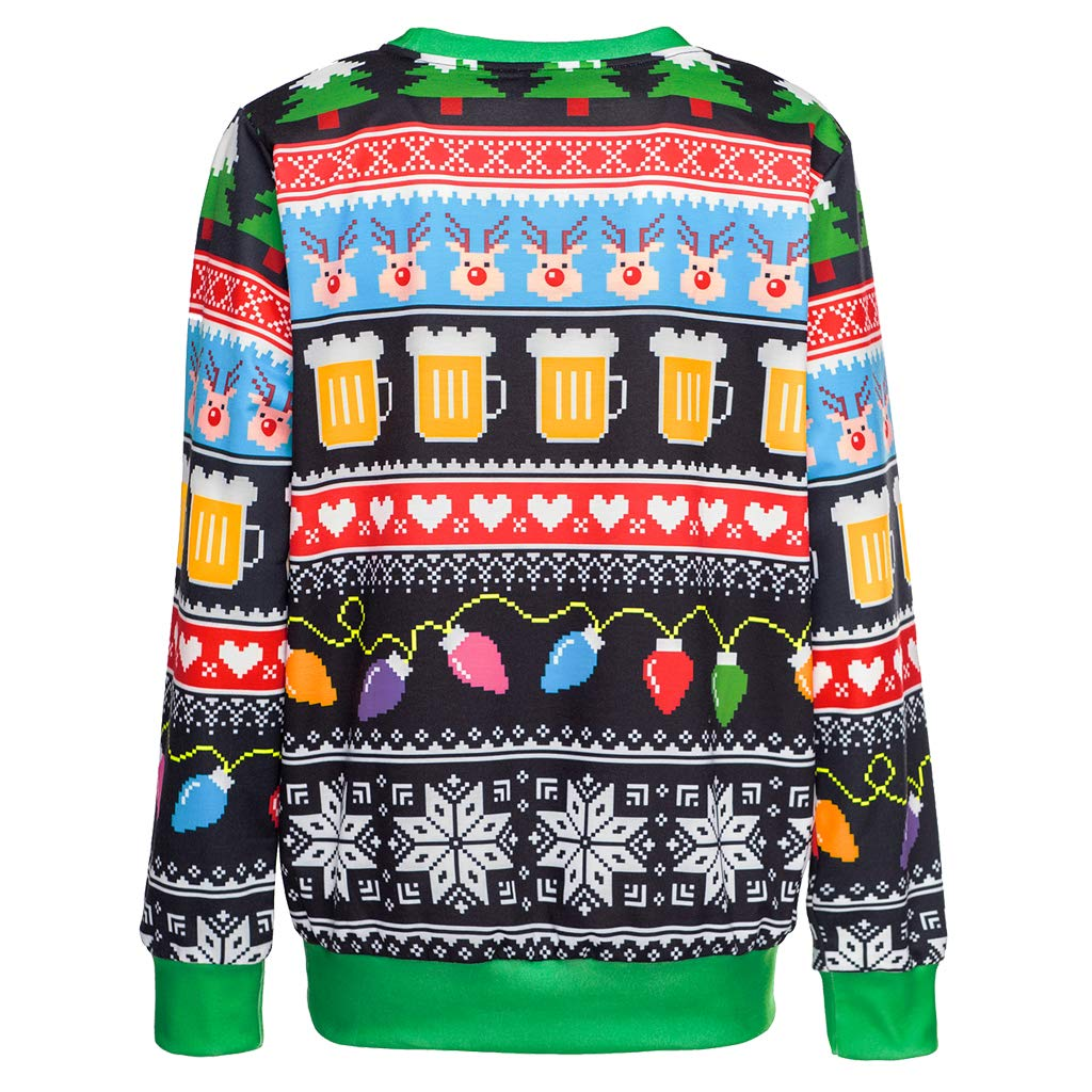 3D Digital Print Sweatshirt Colorful House Unisexs Ugly Christmas Jumper Sweater
