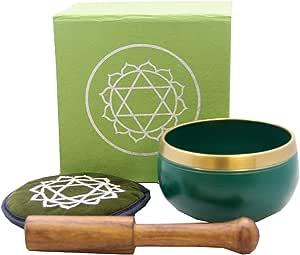 Tibetan Palm Size Heart Chakra Premium Singing Bowl Gift Set
