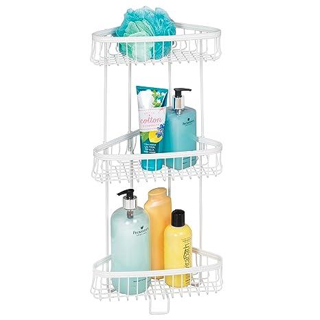 Amazon.com: mDesign Decorative Metal Bathroom Corner Shelf Unit ...