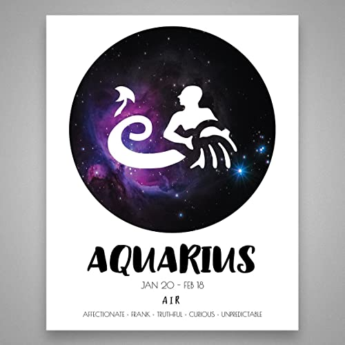Aquarius Wall Art - Star Sign Print - - Zodiac Astrology Horoscope Gift - Aquarius Gift