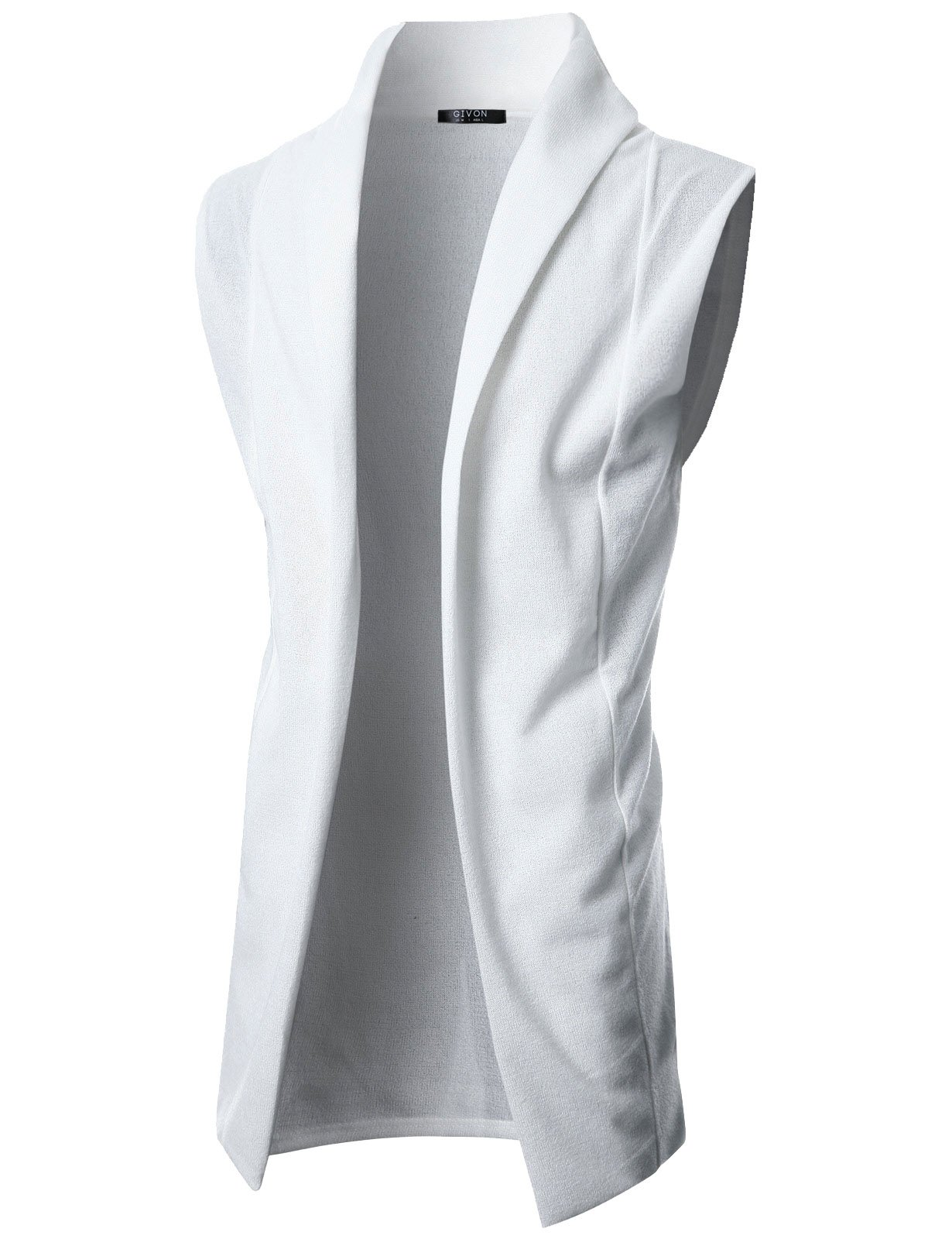 GIVON Mens Sleeveless Draped Open Front Shawl Collar Knitted Long Vest/DCC031-IVORY-L