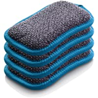 E-Cloth Washing Up Pad Microfiber Sponge Alternative, 4 Pack - New Version, Blue