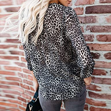 e89607dbaa6 Women Blouse JJLIKER Fashion Leopard Printed Sexy Off Shoulder Top Flare  Long Sleeve Leisure Shirt at Amazon Women's Clothing store: