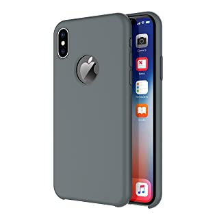 iPhone X/iPhone Xs Case, Arteck Liquid Silicon Rubber iPhone Xs (2018) iPhone X (2017) 5.8 inch Shockproof Case with Soft Microfiber Cloth Cushion - Space Gray