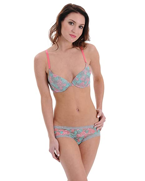 Junior s 2 Piece Set Matching Bra and Panties Pink and Mint Floral Lace Bra  Pantie 0c29858d8
