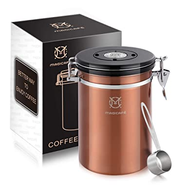 Magicafé Airtight Coffee Bean Container - co2 Valve Airscape Coffee Bean Vacuum Canister With Scoop for Ground Coffee Large Copper 21oz