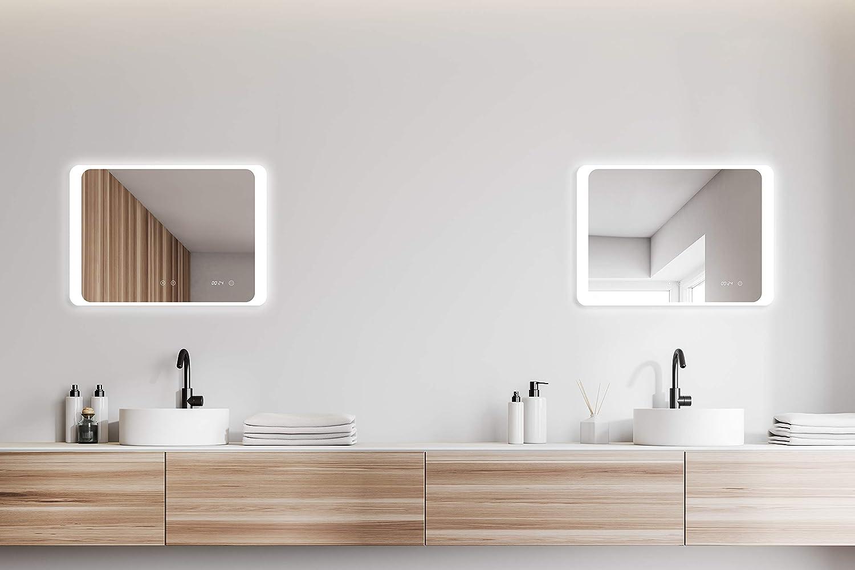 Specchio da Bagno con Illuminazione e Orologio Digitale ALLDREI