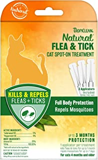 product image for TropiClean Natural Flea & Tick Spot-On Treatment for Cat, Count of 3