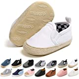 Meckior Infant Baby Girls Boys Canvas Shoes Soft Sole Toddler Slip On Newborn Crib Moccasins Casual Sneaker Austin Boy's Flat