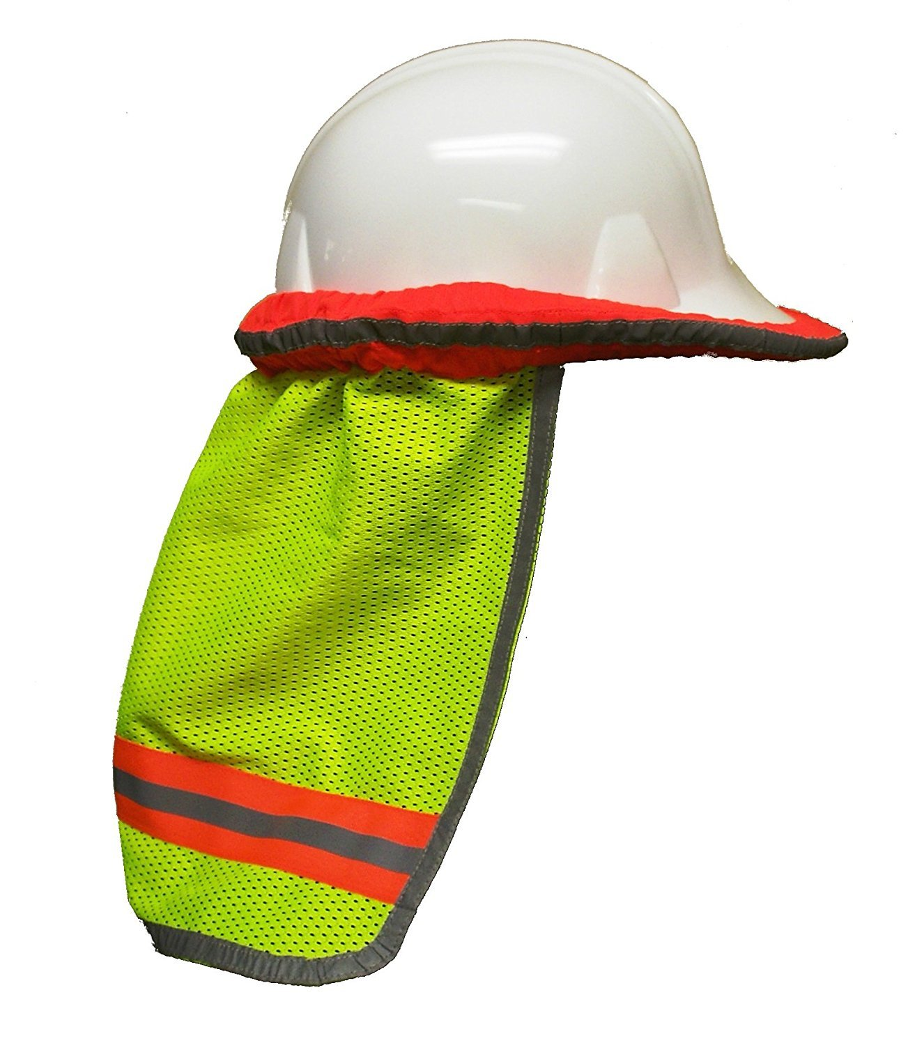 Safety Depot High Visibility Reflective Hard Hat Neck Sun Shade Meets ANSI & NFPA 701 (2010) Standards (Case of 48 Lime, Mesh)