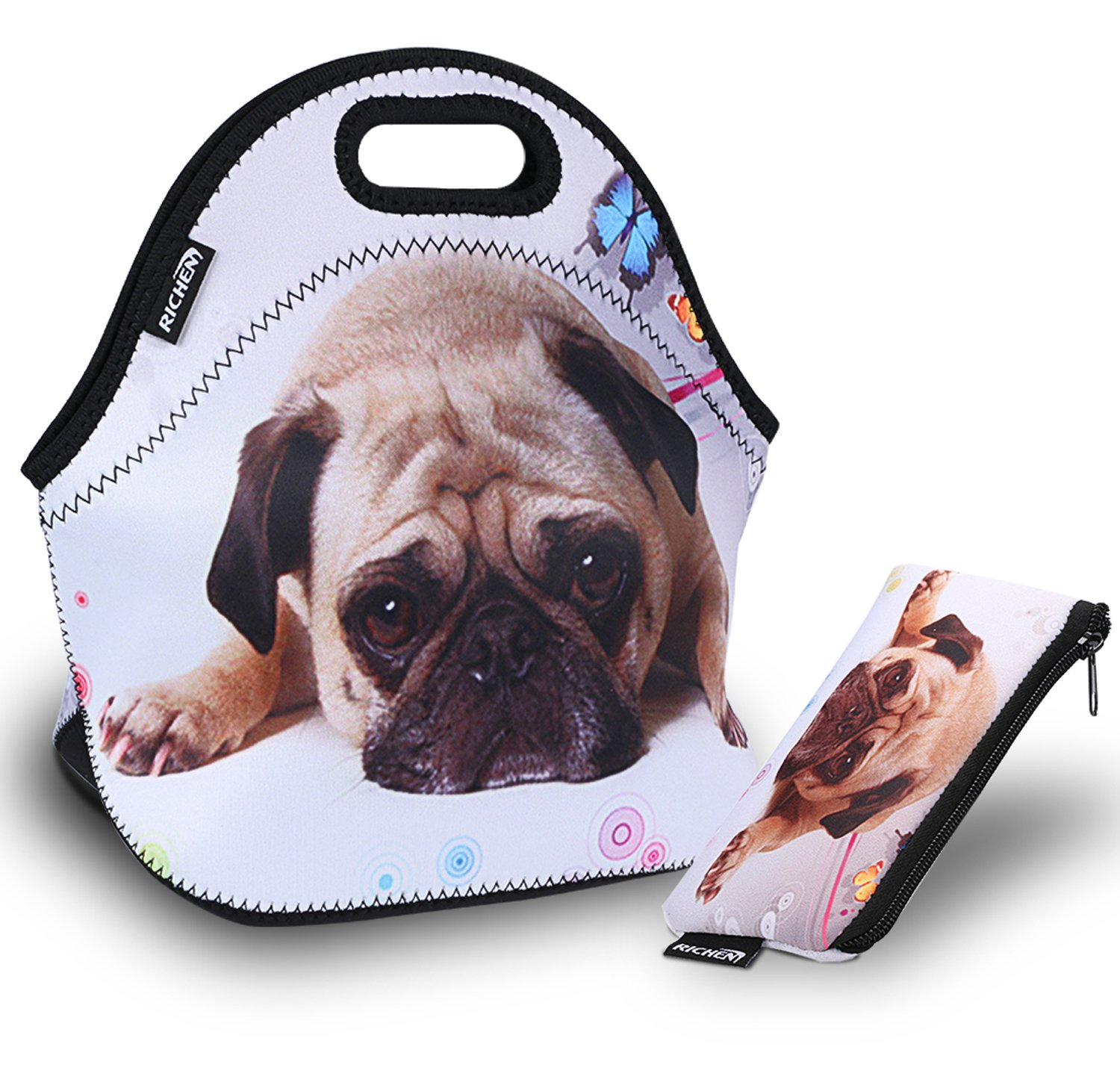 RICHEN Neoprene Lunch Bag with Cutlery Kit Neoprene Case for Knife,Fork,Spoon,Thermal Thick Lunch Tote Bag,Reusable Bags for Adults and Kids,Pug Dog Design (RLB-08)