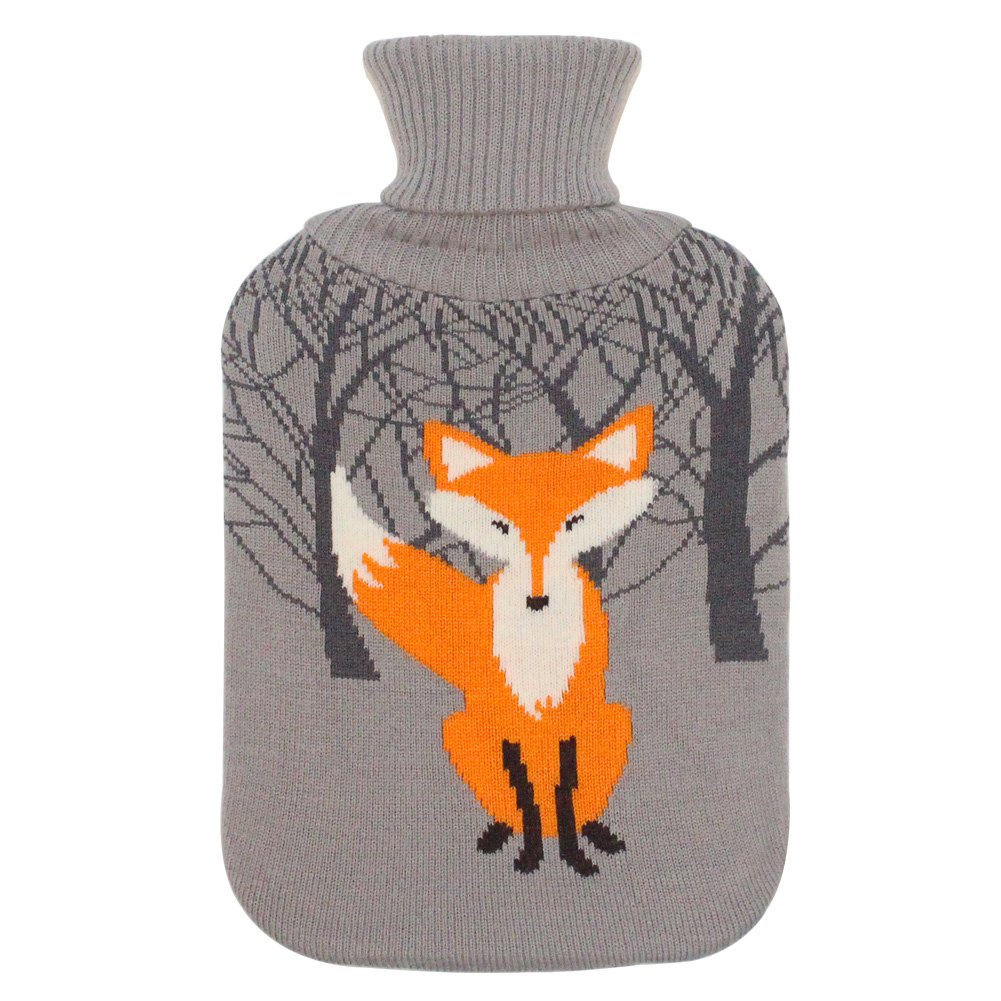 Large 2 Liter Soft Cute Hot Water Bottle Knit Cover - ONLY Cover (2 L, Gray with Fox)