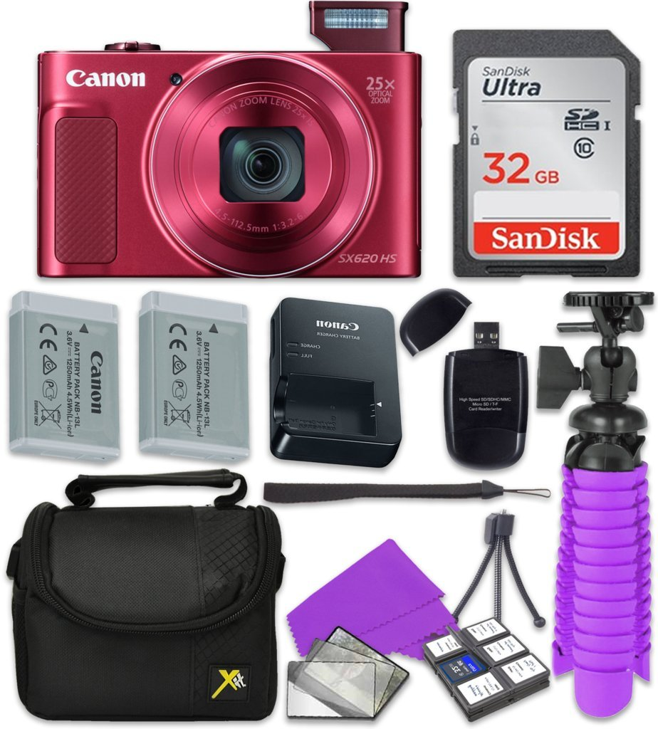 Canon PowerShot SX620 HS Wi-Fi Digital Camera (Red) with Sandisk 32 GB SD Memory Card + Extra Battery + Tripod + Case + Card Reader + Cleaning Kit