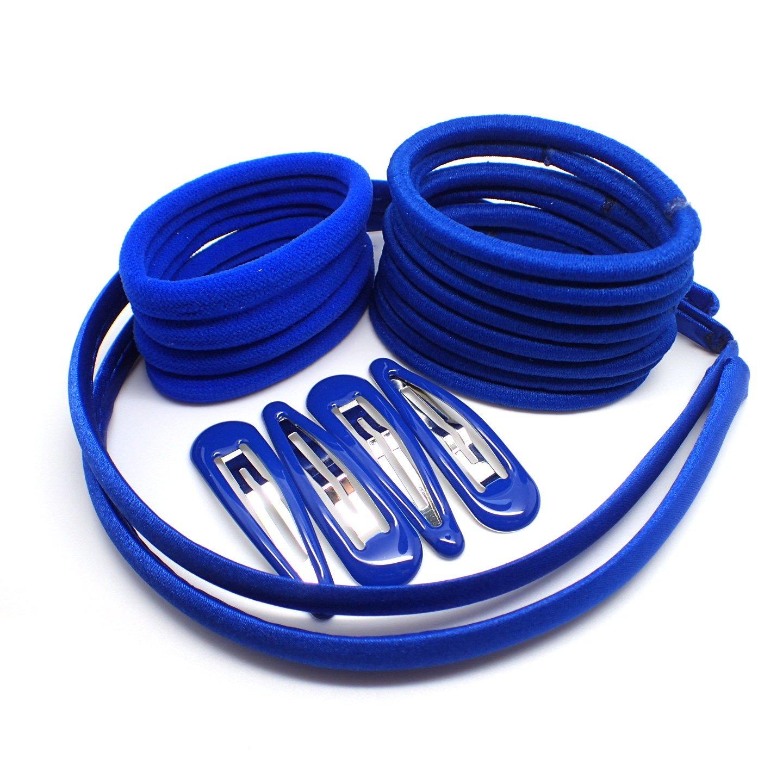 20 Piece Royal Blue Hair Elastic Band Bobble Snap Hair Clip Slide School Set