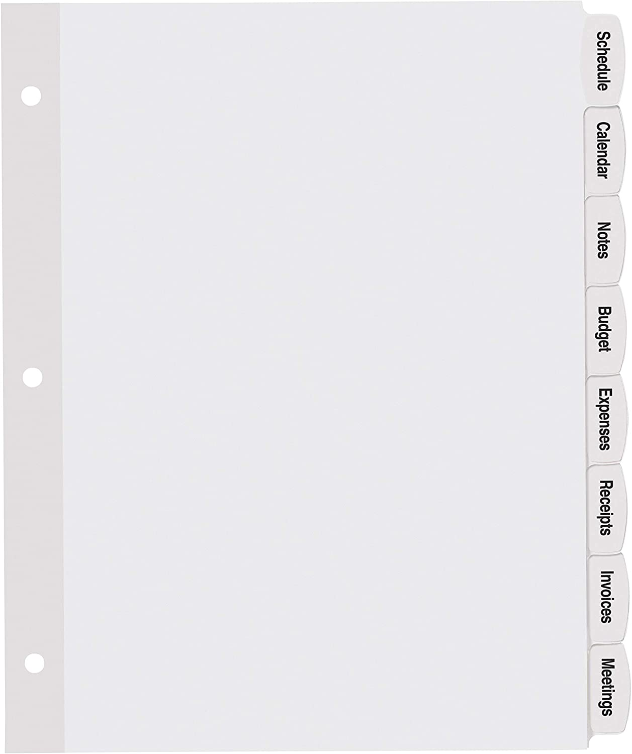 8 Tabs Avery Big Tab Printable White Label Dividers with Easy Peel 14435 20 Sets
