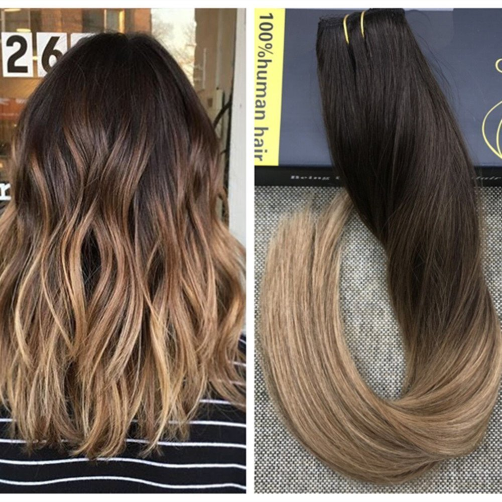Ugeat 16inch 50Gram 100% Remy Human Hair Balayage Ombre Color #2 Darkest Brown Fading to #6 Medium Brown Mixed with #12 Blonde One Piece Clip in Hair Extensions with 5 Clips Weihai Ugeat Hair