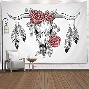 ROOLAYS Tapestry Wall Hanging, Home Art Décor Bull Skull Roses Her Head Feathers Hanging Horns Graphic Illustration with 80x60 Inches for Living Room Dorm Background Tapestries