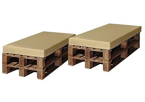 SERMAHOME- Pack2 Asientos europalet enfundados en Polipiel Color Beige. Jardín, Piscina o Chill out. Medidas: 120 x 80 x 9 cm.