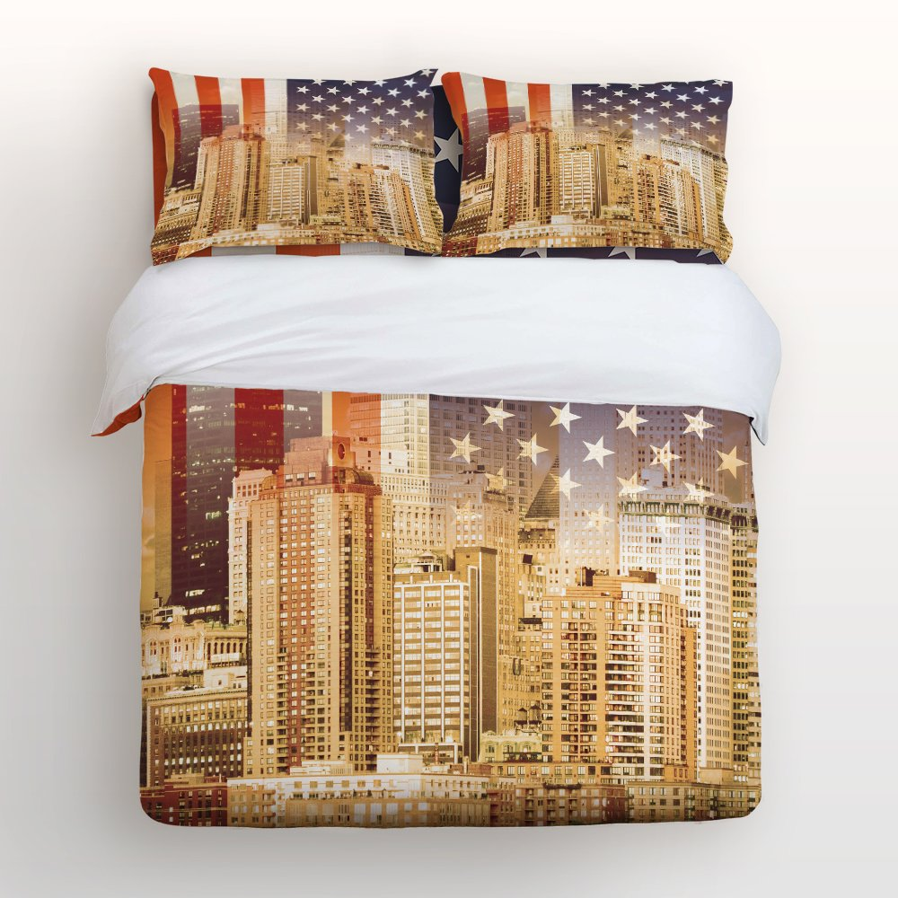 Libaoge 4 Piece Bed Sheets Set, Cityscape of LA with the USA Flag Print, 1 Flat Sheet 1 Duvet Cover and 2 Pillow Cases