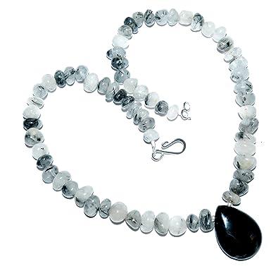 063ff972319251 HM Kette Turmalin Quarz mit Achat Tropfen - schwarz weiß - Statement Kette  - Beads-in-Fashion  Amazon.de  Schmuck