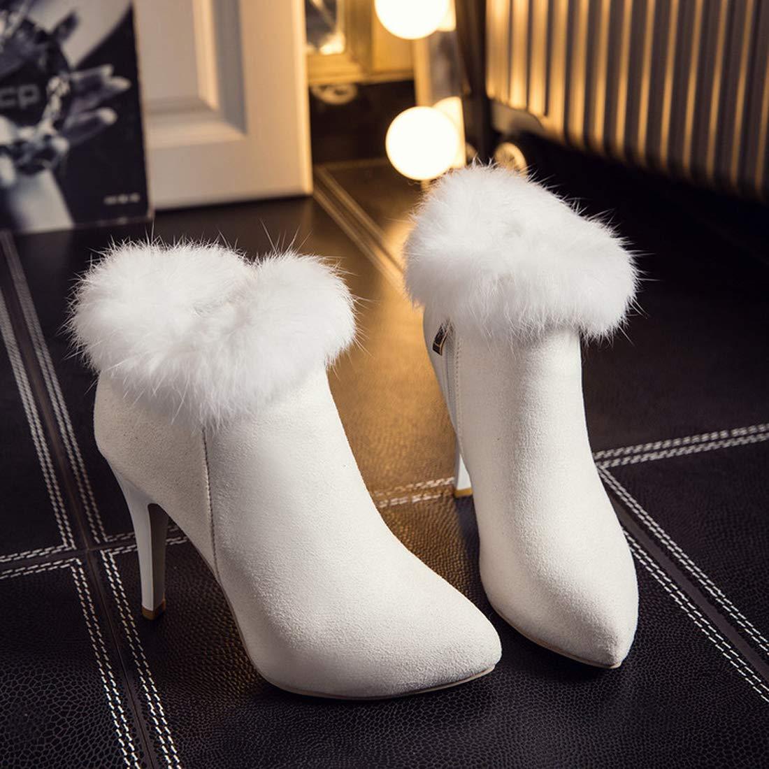 SERAPH T056 Damen Wildleder Wildleder Damen Spitz Stiletto High Heel Stiefeletten,Weiß,42EU - 88941d