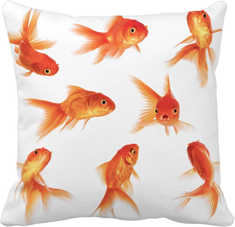 Awowee Throw Pillow Cover Orange Goldfish Gold Fish Aquarium White Bowl Pet Group 16x16 Inches Pillowcase Home Decorative Square Pillow Case Cushion Cover