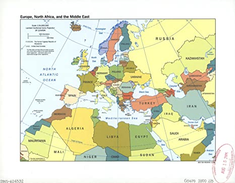 North Africa Europe Map.Vintprint Map Poster Europe North Africa And The Middle East 24 X19