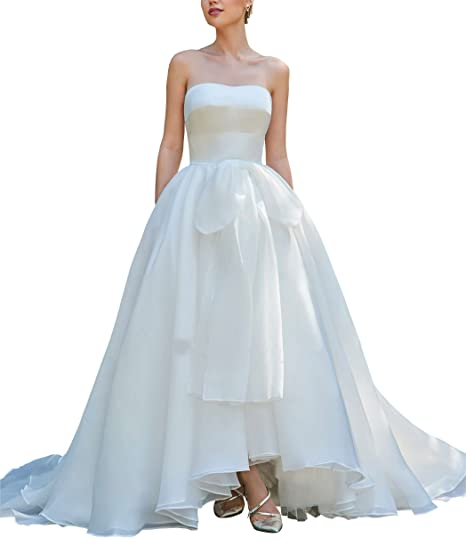 Fannydress Organza Strapless Bows Wedding Dresses For Bride