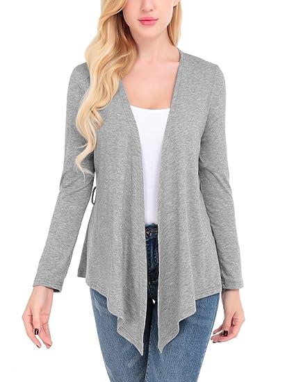 8790f07b5c FISOUL Women s Cardigans Open Drape Front Coats Long Sleeve Lightweight Knit  Jackets Gray XXL