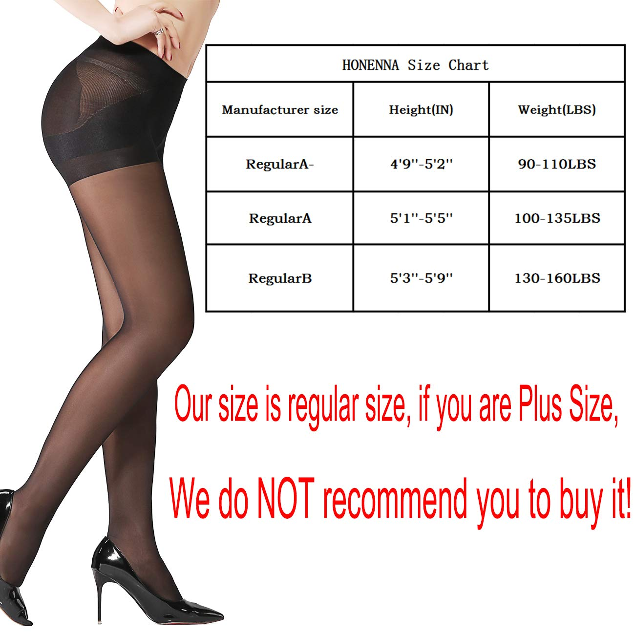 b6defb437 HONENNA 2 Pair Compression Shaping Pantyhose Control Top Semi Opaque ...