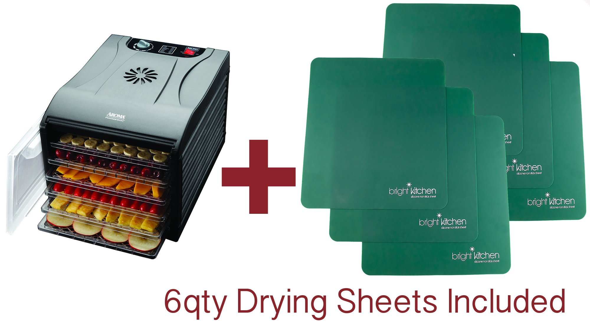 Aroma Professional Dehydrator BONUS PACKAGE WITH 6 qty Non Stick Silicone Drying Sheets 6 Tray Black